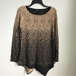 Rafaella Black Gold Shimmer Asymmetrical Sweater